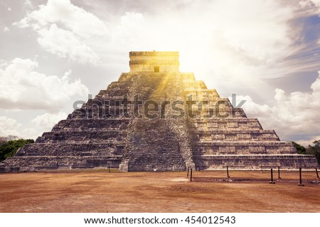 El Castillo (The Kukulkan Temple) of Chichen Itza, mayan pyramid in Yucatan, Mexico.  It's  one of the new 7 wonders of the world. - stock photo