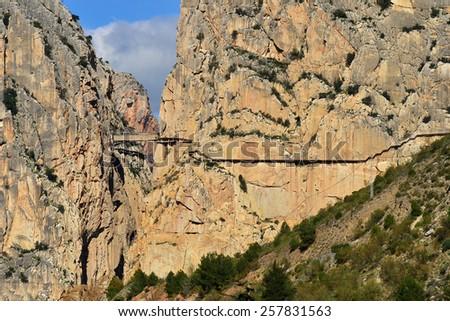 El Chorro,Andalusia,Spain, Entrance to Gaitanes Gorge - stock photo
