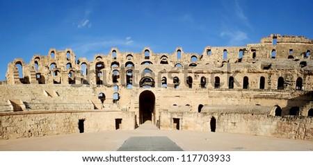 El Djem Amphitheatre gate. Roman biggest amphitheater in africa in El Djam, Tunisia - stock photo