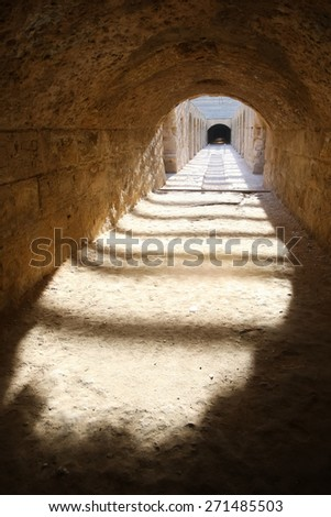EL DJEM, TUNISIA - SEPTEMBER 17 : Undercroft of roman biggest amphitheater in africa on September 17, 2012 in El Djem, Tunisia. - stock photo