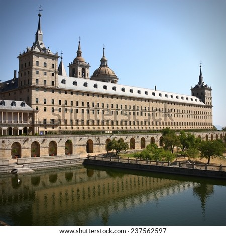 El Escorial - famous monument near Madrid, Spain. Square composition. - stock photo