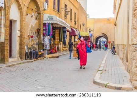 EL JADIDA, MOROCCO, APRIL 5, 2015: Medina in a historic city on the Atlantic coast of Morocco, in the province of El Jadida. - stock photo