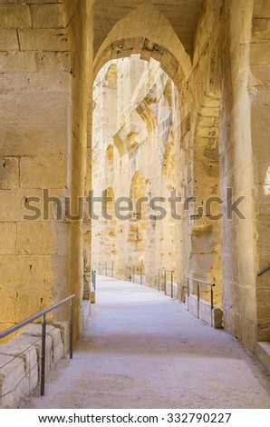EL JEM, TUNISIA - SEPTEMBER 1, 2015: The narrow hall of archaeological museum in the ancient Roman amphitheatre, on September 1, in El Jem. - stock photo