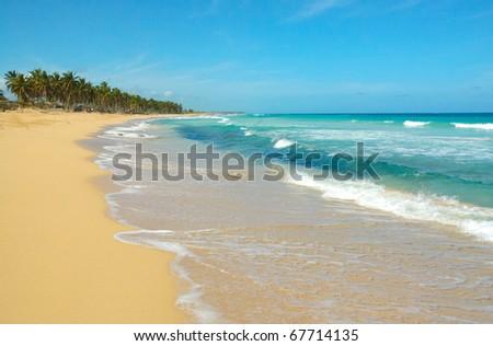 El Macao beach and ocean waves - stock photo