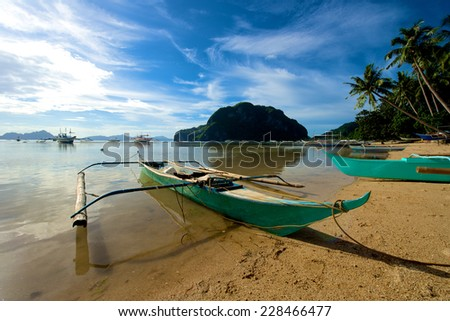 El Nido Canoe boat in the Palawan Island in the Philippines. - stock photo