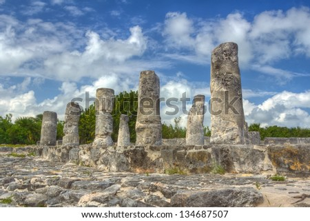 El Rey Ruins in Cancun, Mexico - stock photo