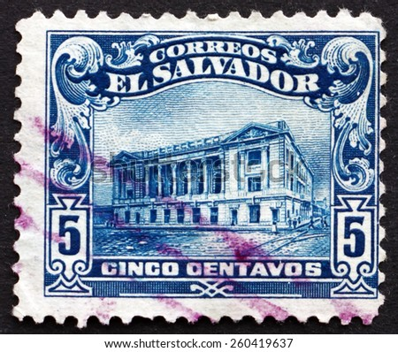EL SALVADOR - CIRCA 1916: a stamp printed in El Salvador shows National Theater of El Salvador, is the Oldest Theater in Central America, circa 1916 - stock photo