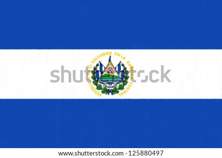 El Salvador flag drawing by pastel on charcoal paper - stock photo
