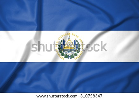 El Salvador flag on soft and smooth silk texture