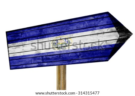 El Salvador Flag wooden sign isolated on white - stock photo