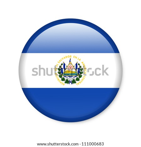 El Salvador - glossy button with flag - stock photo
