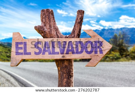 El Salvador wooden sign with road background - stock photo