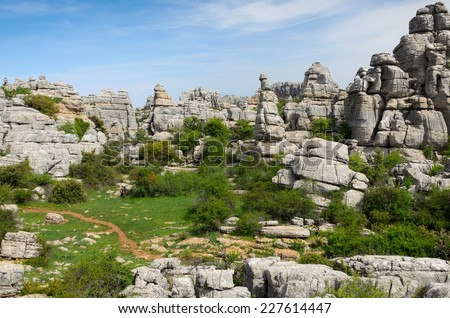 El Torcal de Antequera is known for its unusual landforms and is one of the most impressive karst landscapes. - stock photo
