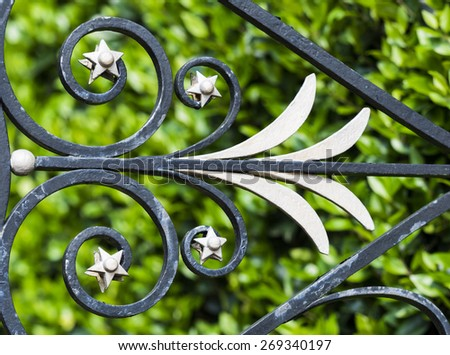 Elaborate wrought iron design on fence in Charleston, South Carolina with garden in background. - stock photo