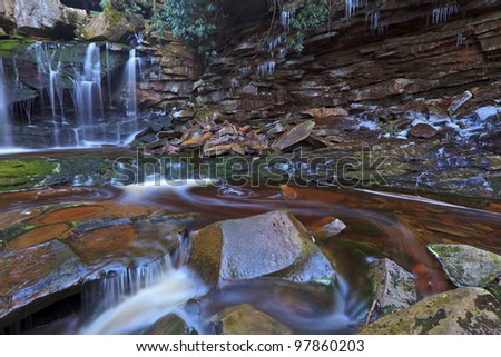 Elakala waterfalls in spring - stock photo