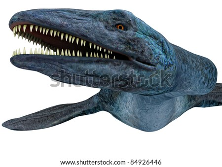 Elasmosaurus platyurus dinosaur closeup headshot.  A genus of plesiosaur.Extremely long neck. From the Late Cretaceous period Campanian stage, Isolated white background. Cutout, clip art illustration - stock photo