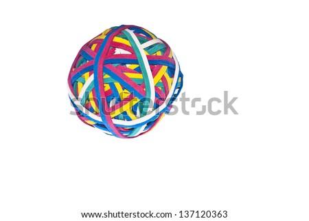 Elastic band, rubber band ball isolated on white background - stock photo