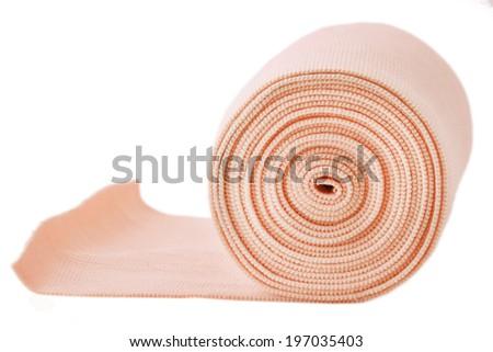 elastic bandage isolated on white - stock photo