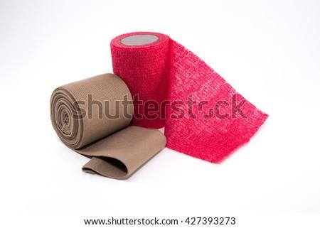 Elastic Bandage on White Background. medical bandage roll - stock photo