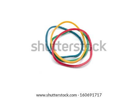 Elastic bands on a white background - stock photo