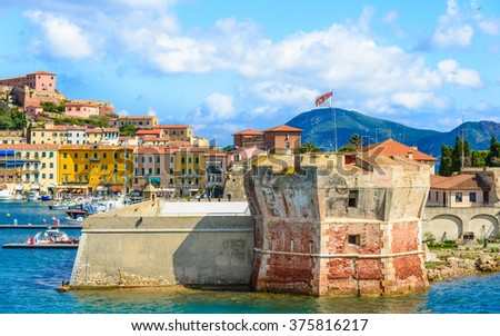 Elba island, panoramic view of Portoferraio, Tuscany, Italy. - stock photo
