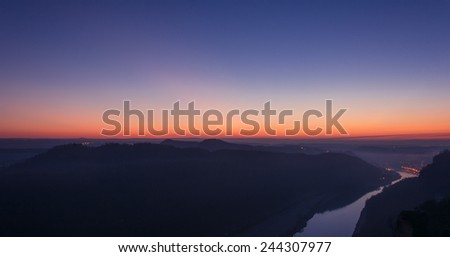 Elbe river after dusk. - stock photo