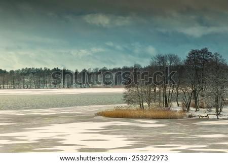 Elckie Lake in winter. Masuria, Poland, Europe. - stock photo