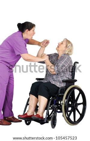 Elder abuse concept: enraged nurse or other health care provider assaulting a senior woman patient in a wheelchair, studio shot on white. - stock photo