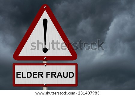 Elder Fraud Caution Sign, Red and White Triangle Caution sign with word Elder Fraud with stormy sky background - stock photo