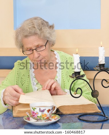 Elder woman reading a book at home - stock photo