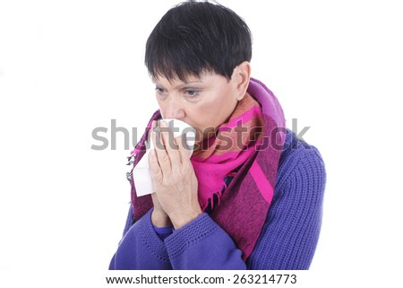 Elder woman with handkerchief and cold isolated - stock photo