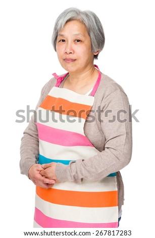 Elderly asian housewife - stock photo