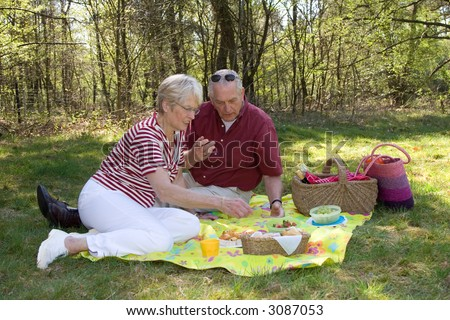 Elderly couple enjoying a sunday afternoon with a picnic (focus on man and some movement in the woman moving forward) - stock photo