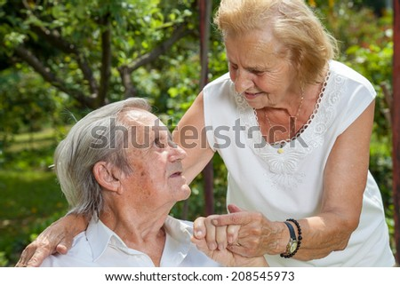 Elderly couple enjoying life together during retirement - stock photo