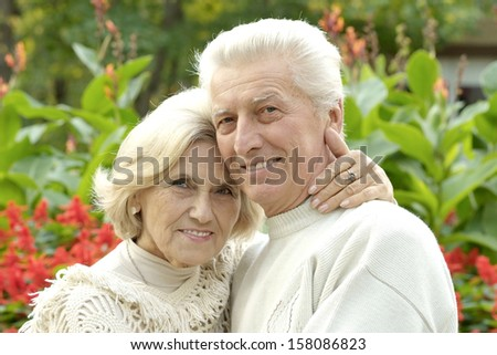 elderly couple in love walking in the park - stock photo