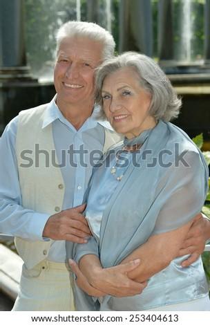 Elderly couple outdoor - stock photo