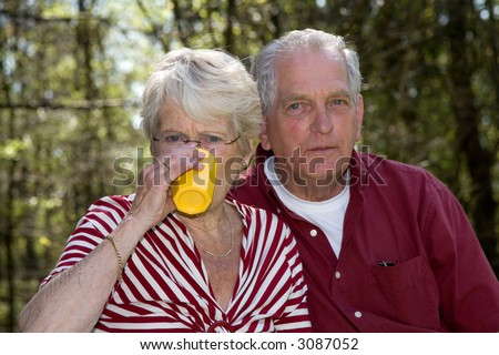 Elderly couple outdoors on a summer day having a little picnic - stock photo