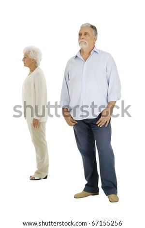 elderly couple separated - stock photo