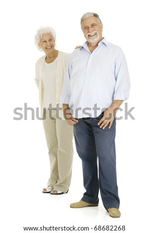 elderly couple smiling - stock photo