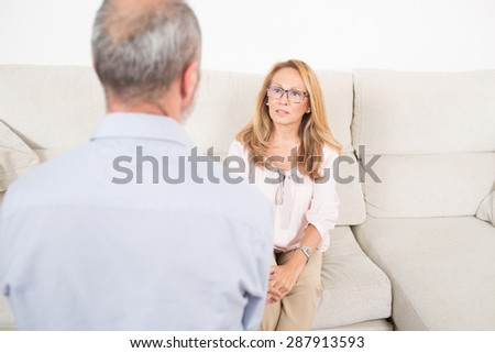 Elderly man at the psychoanalysis  - stock photo