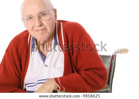 elderly man in wheelchair isolated on white - stock photo