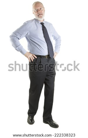 Elderly man standing on white background - stock photo