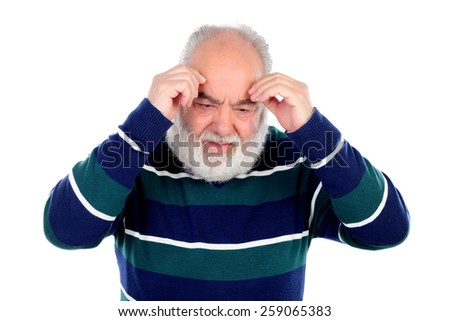 Elderly man with worried gesture isolated on white - stock photo