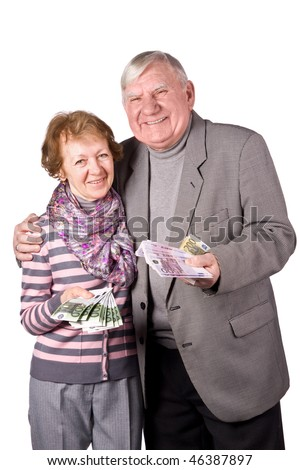 Elderly married couple with money in hands. Isolated on a White Background - stock photo
