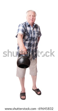 elderly men with weight - stock photo