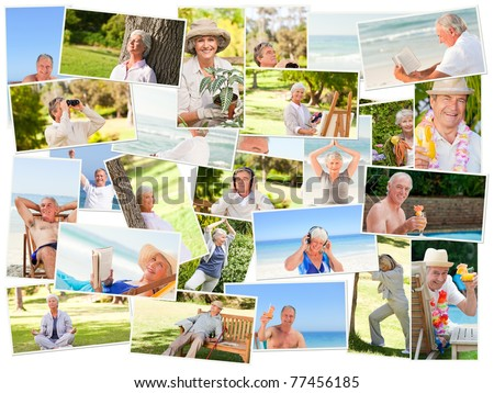 Elderly people relaxing alone outdoors - stock photo