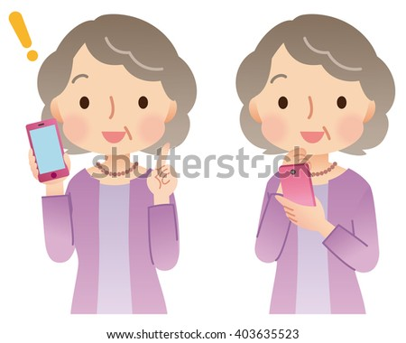 elderly woman and smart phone  - stock photo