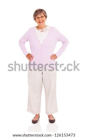 elderly woman full length portrait on white background - stock photo