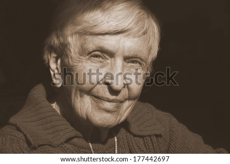 elderly woman in her nineties - stock photo