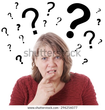elderly woman looking confused with question marks above her head - stock photo